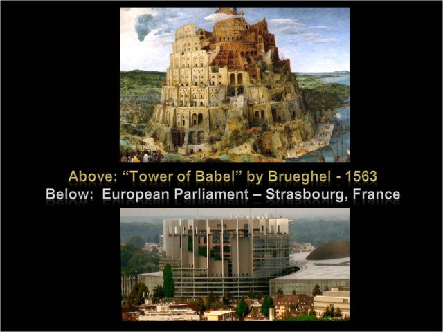 Babel tower and EU bldg
