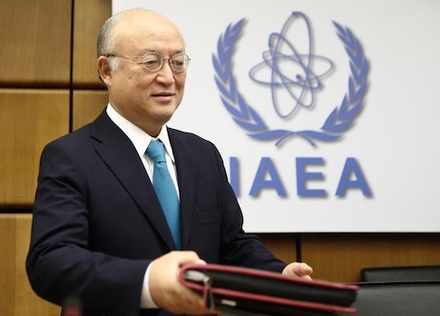 International Atomic Energy Agency (IAEA) Director General Yukiya Amano arrives for a board of governors meeting at the IAEA headquarters in Vienna November 20, 2014.  REUTERS/Heinz-Peter Bader