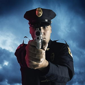 ROYALTY FREE, Male police officer aiming gun, COP, OFFICER, POLICE MAN,
