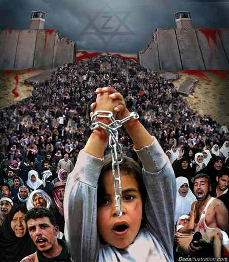 Palestinian walled and chained in