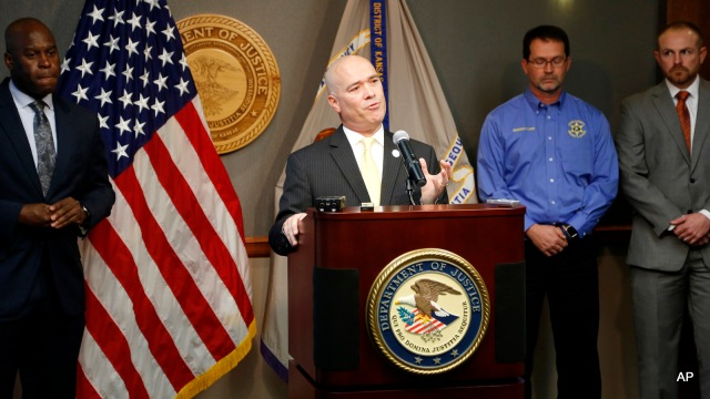Acting U.S. Attorney Tom Beall announced Friday, Oct. 14, 2016,  a major federal investigation stopped a domestic terrorism plot by a militia group to detonate a bomb at a Garden City apartment complex where a number of Somalis live.Two Liberal men and a Dodge City resident were arrested and charged in federal court with domestic terrorism charges, (Bo Rader/The Wichita Eagle via AP)